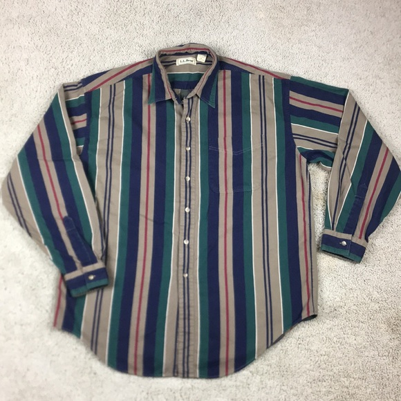 86b183ca92 L.L. Bean Shirts | Vintage 90s Ll Bean Striped Button Up Polo Shirt ...